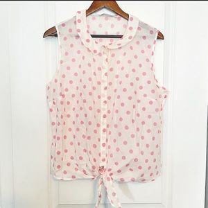Boden Pink Polkadot Tie front button blouse
